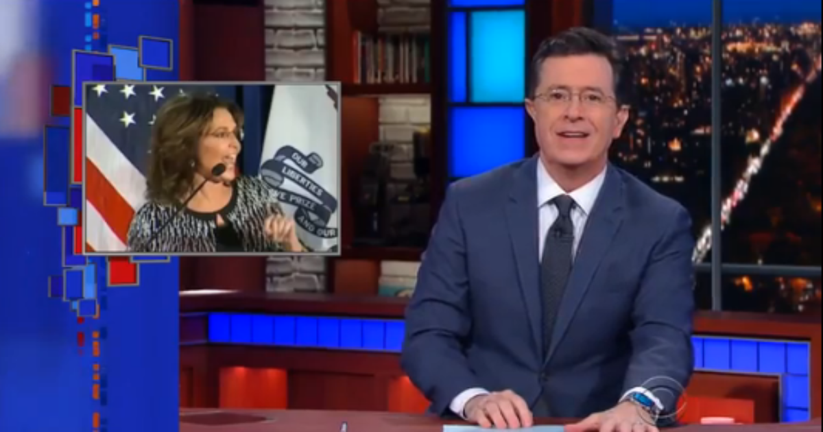 stephen colbert is so happy to have palin back   u0026quot say