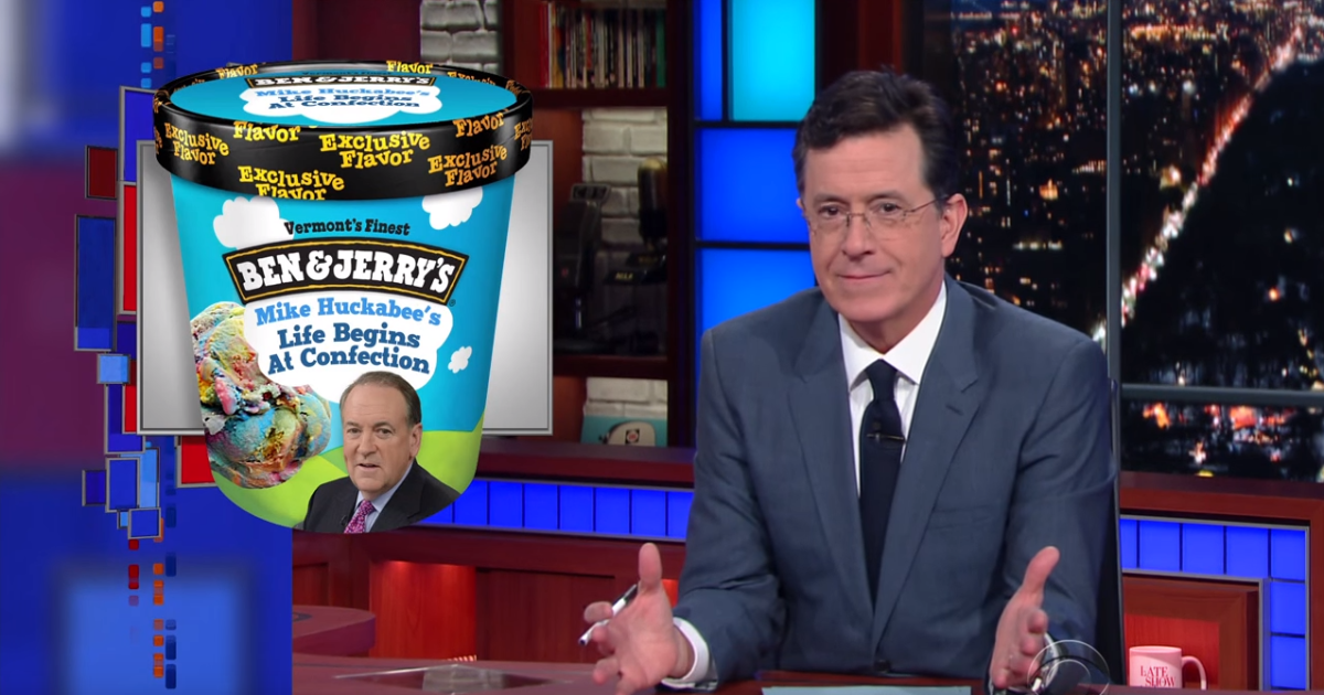 colbert gives candidates their own ice cream flavors