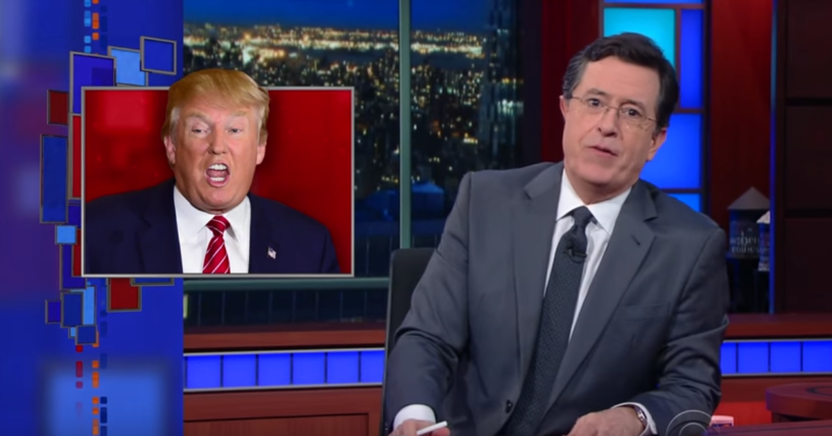 colbert  trump is your idiot uncle who believes everything
