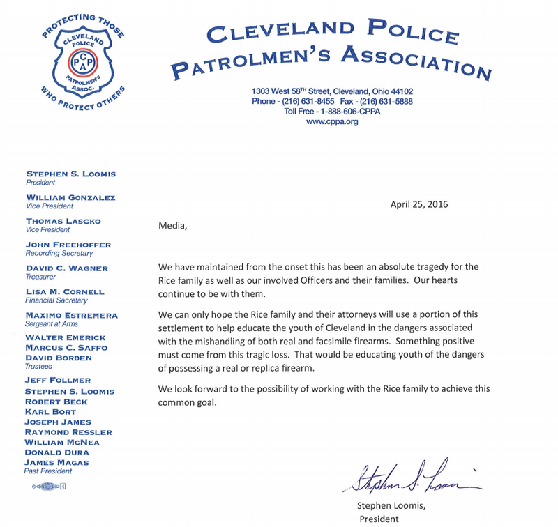 Tamir Rice police union letter