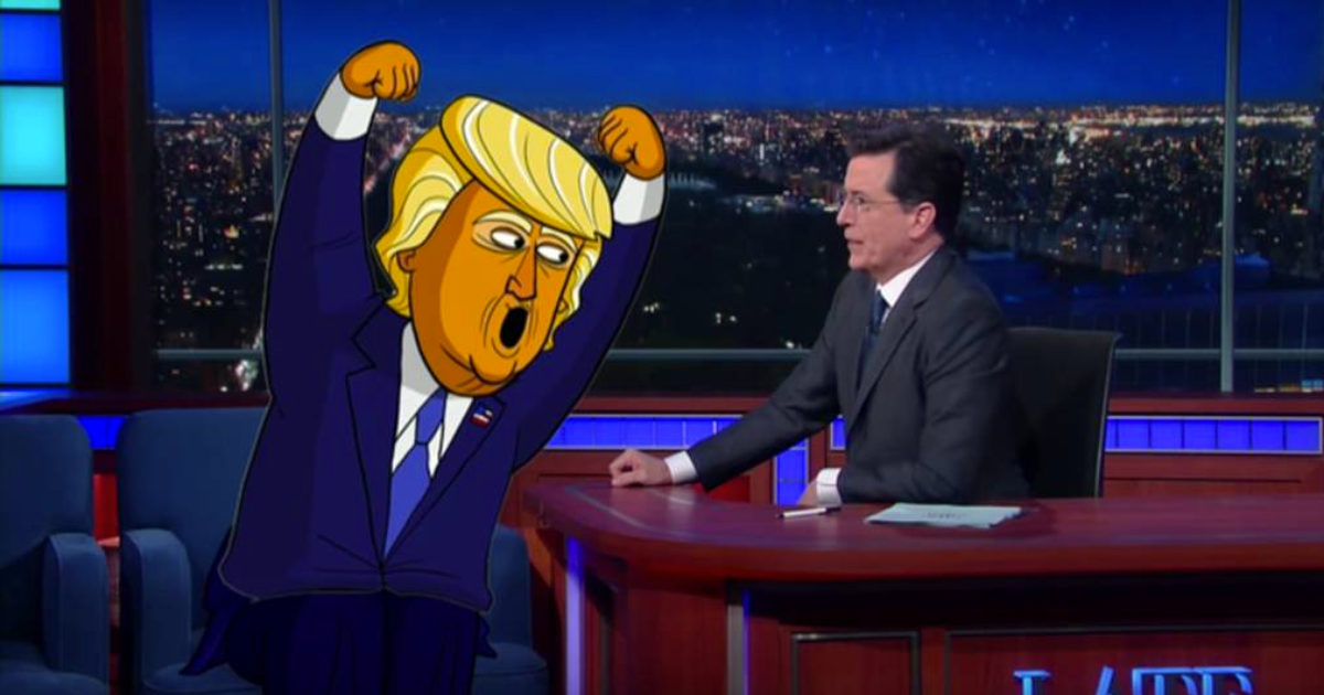 cartoon trump returns to yell at stephen colbert  so much
