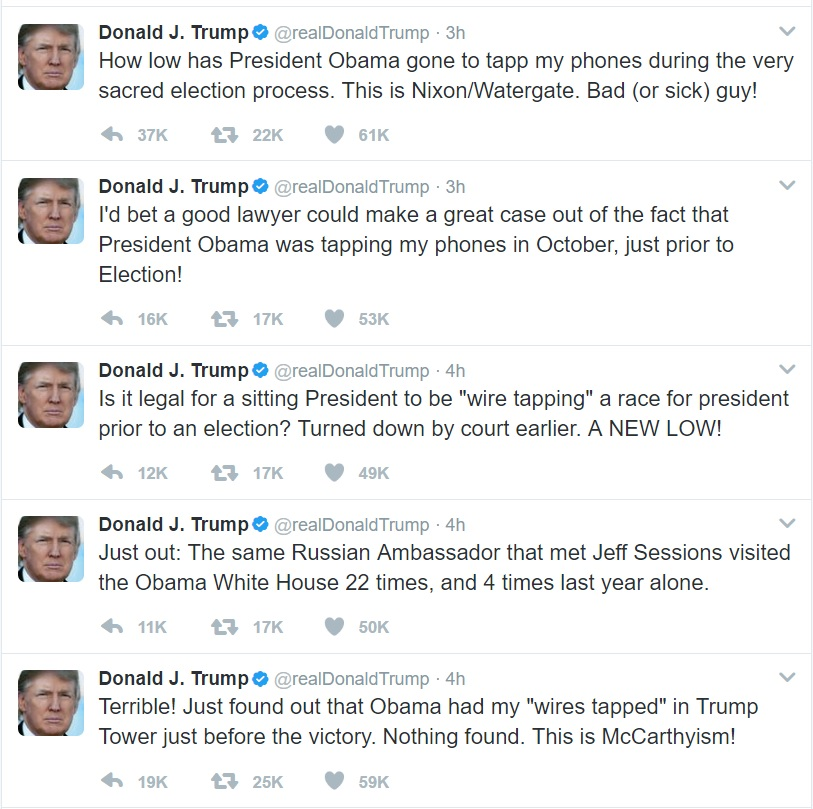 Trump Tweets About Mcgahn S Subpoena Presidential: President Claims In Unhinged Tweet Rant That Obama