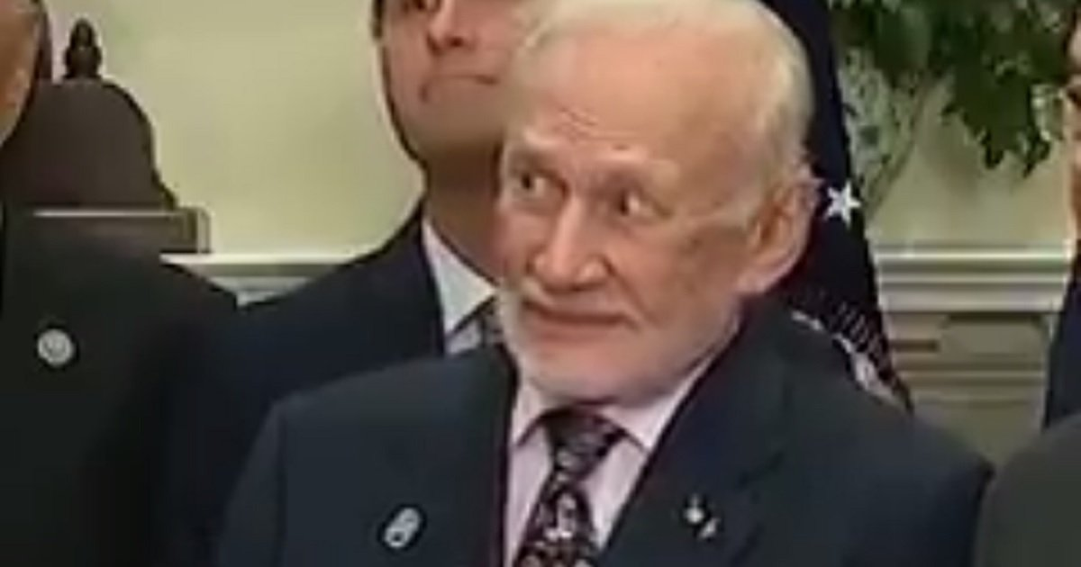 Donald Trump talks about space and Buzz Aldrin's face is priceless
