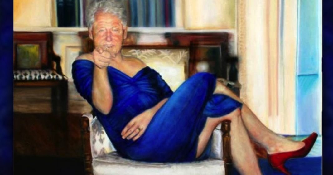 Jeff Epstein Kept Super Creepy Painting Of Bill Clinton In